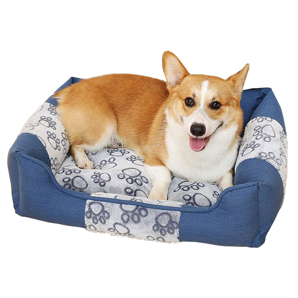 bluee MediumDog Bed Kennel, Can Disassembly And Washing Hardwearing Pet Pad Dog Mat Four Seasons General 110  80cm Suitable for large pets Non Slip Cushion Pad (color   Khaki, Size   XLarge)