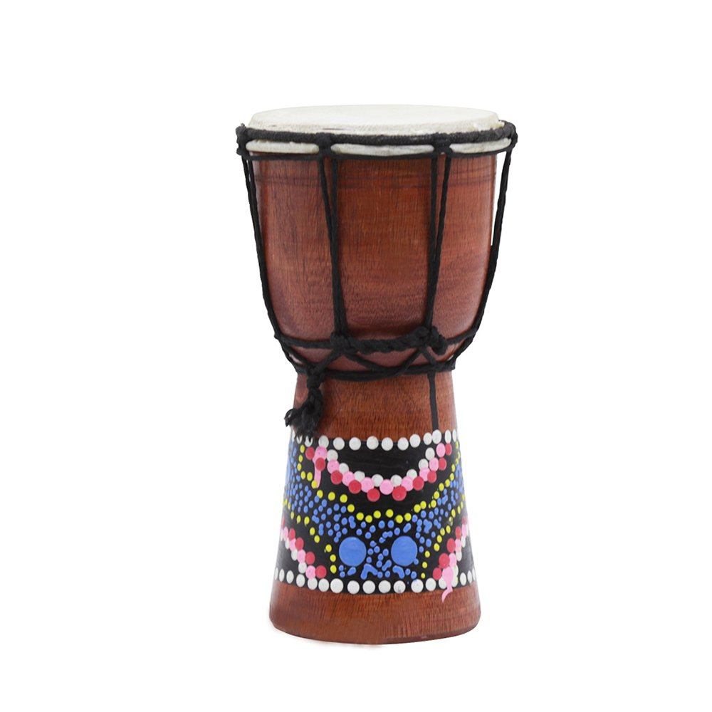 Muslady 4 Inch Compact Size Wooden African Drum Djembe Bongo Hand Drum Percussion Musical Instrument with Colorful Pattern (Patterns Random Delivery) 1