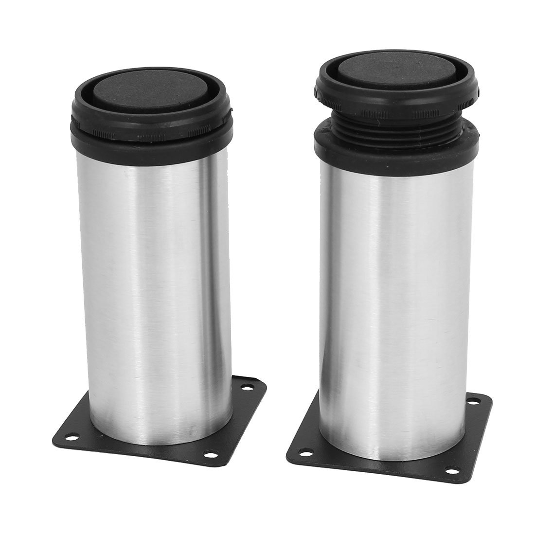 uxcell 120mm Height Stainless Steel Square Shape Base Adjustable Cabinet Leg Feet 2pcs