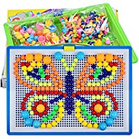 New 296PCS Portable Mosaic Nail Puzzle Peg Board For Kids Children Educational Toys Gift By KTOY