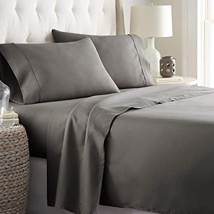 BEST BEDDING COLLECTION 100/% Egyptian Cotton 1000 TC USA Sizes Light Grey Solid