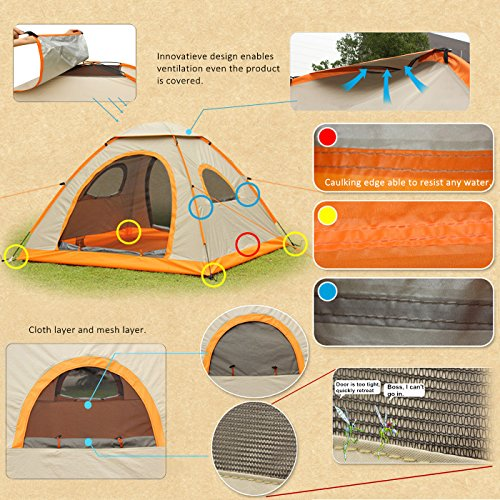 Pop Up Camping Tent Automatic and Instant Setup for 3-4 Person - Waterproof and Anti-UV
