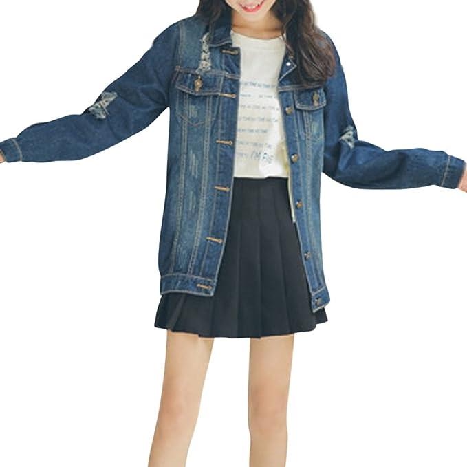 c2d921236093e JudyBridal Oversize Denim Jacket for Women Ripped Jean Jacket Boyfriend  Long Sleeve Coat