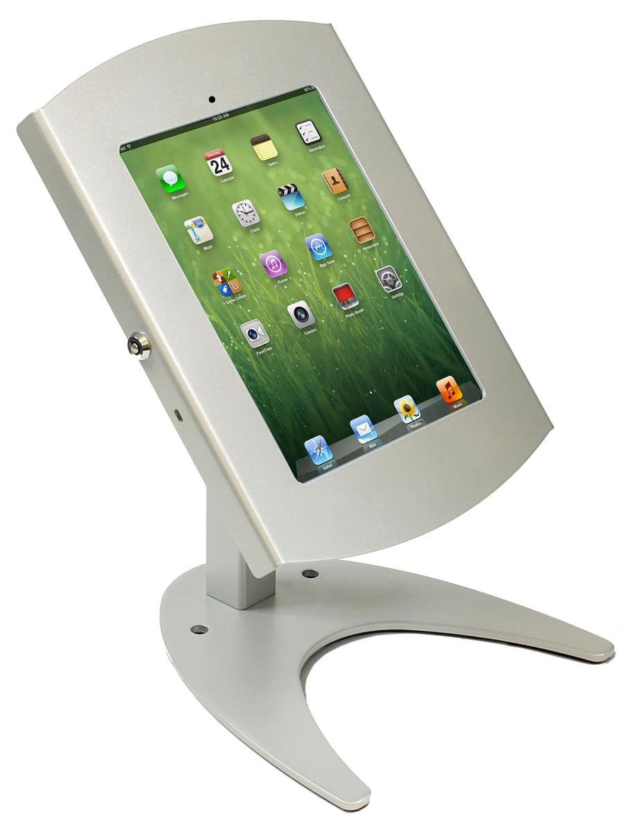 Tabletop iPad Stand, Counter Mount Locking Enclosure, Hinged Door, Hidden Home Button, iPad 2-4 and Air (Silver Aluminum/Steel)