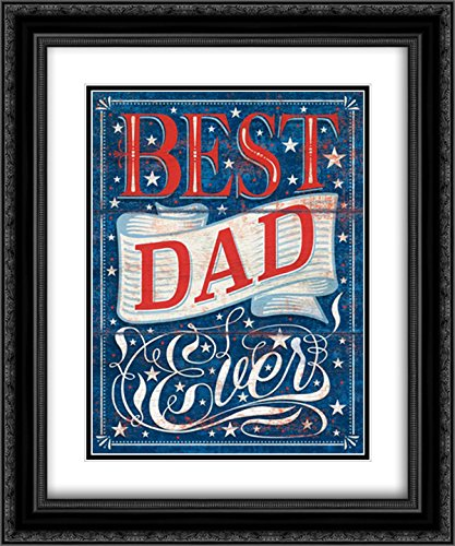 Best Dad Ever 2x Matted Black Framed Art by P.S. Art Studios