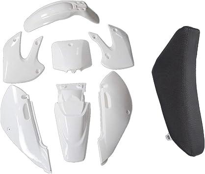 4Red+3White TDPRO Plastic Fairing Kit Fender Parts and Black Seat for Pit Dirt Bike Kawasaki KX 65 KX65