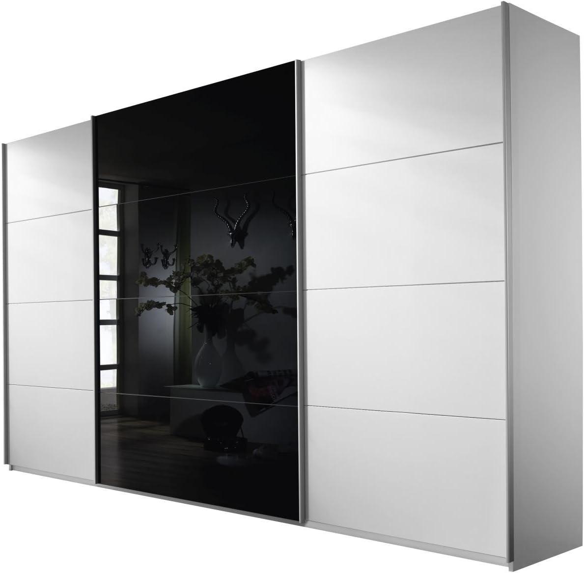 Rauch Möbel Armario con Puertas correderas, Madera, Color Blanco Alpino de Cristal Negro, Höhe 230 cm