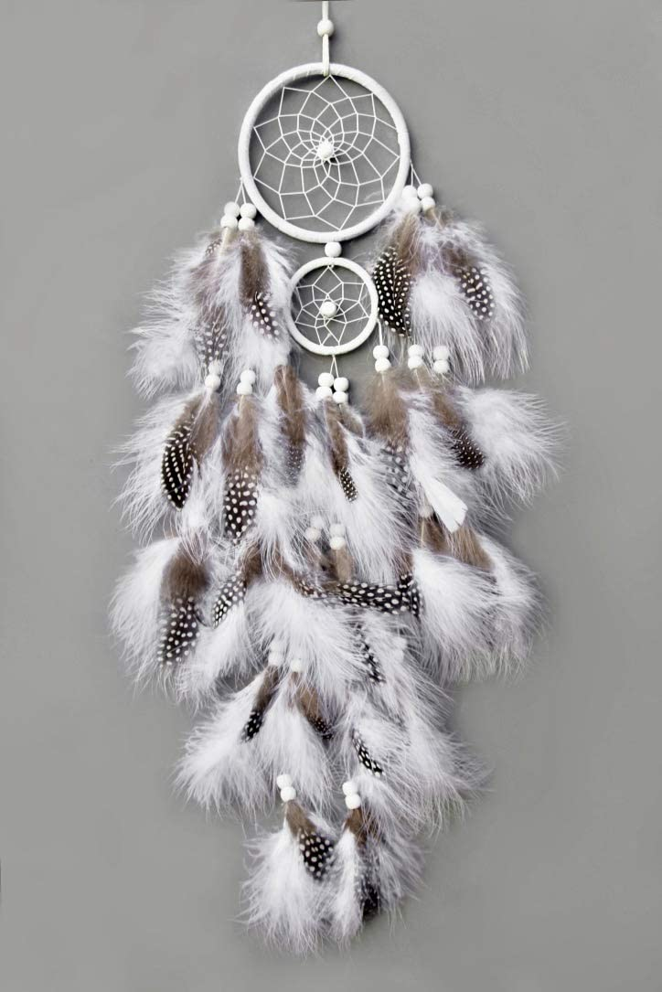 """TooglBox Handmade Native American Indian Dream Catcher [White] with Real Feathers & Wood Beads,for Kids, Bedroom, Wall Hanging Decor Craft, Two Circles 4.3"""" and 2.3""""; Length 25""""-26' (White)"""