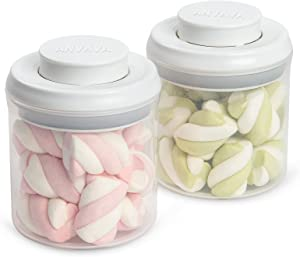 ANVAVA Airtight Food Storage Container Set - 2-Pack One Button Control Kitchen and Pantry Organization Containers - Mini Plastic Storage Canisters with Airtight Lids - BPA-Free - 0.25Qt