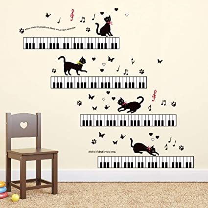 Childrens Room Nursery Removable Wall Stickers Murals ufengke/® Lovely Cats Moon Stars Wall Decals