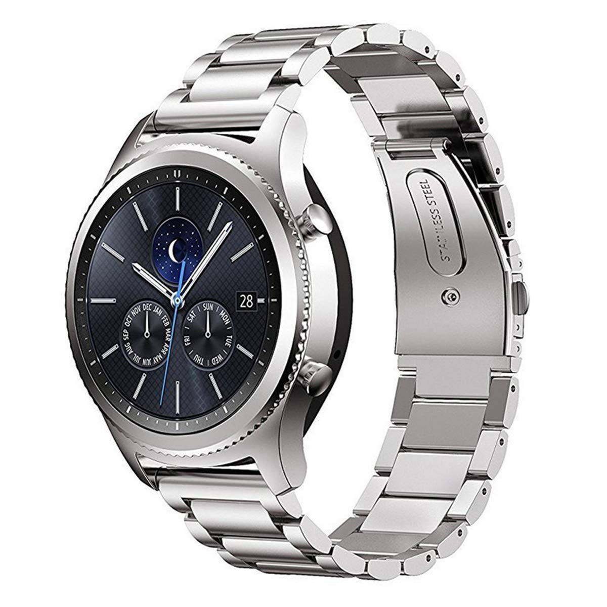 MroTech Correa Gear S3 Classic/Galaxy Watch 46mm 22mm Sólido de Acero Inoxidable Metal Band Compatible para Samsung Gear S3 Smartwatch y Huawei Watch ...