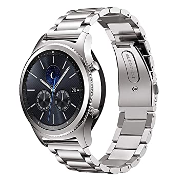MroTech Correa Gear S3 Classic/Galaxy Watch 46mm 22mm Sólido de Acero Inoxidable Metal Band Compatible para Samsung Gear S3 Smartwatch y Huawei Watch ...