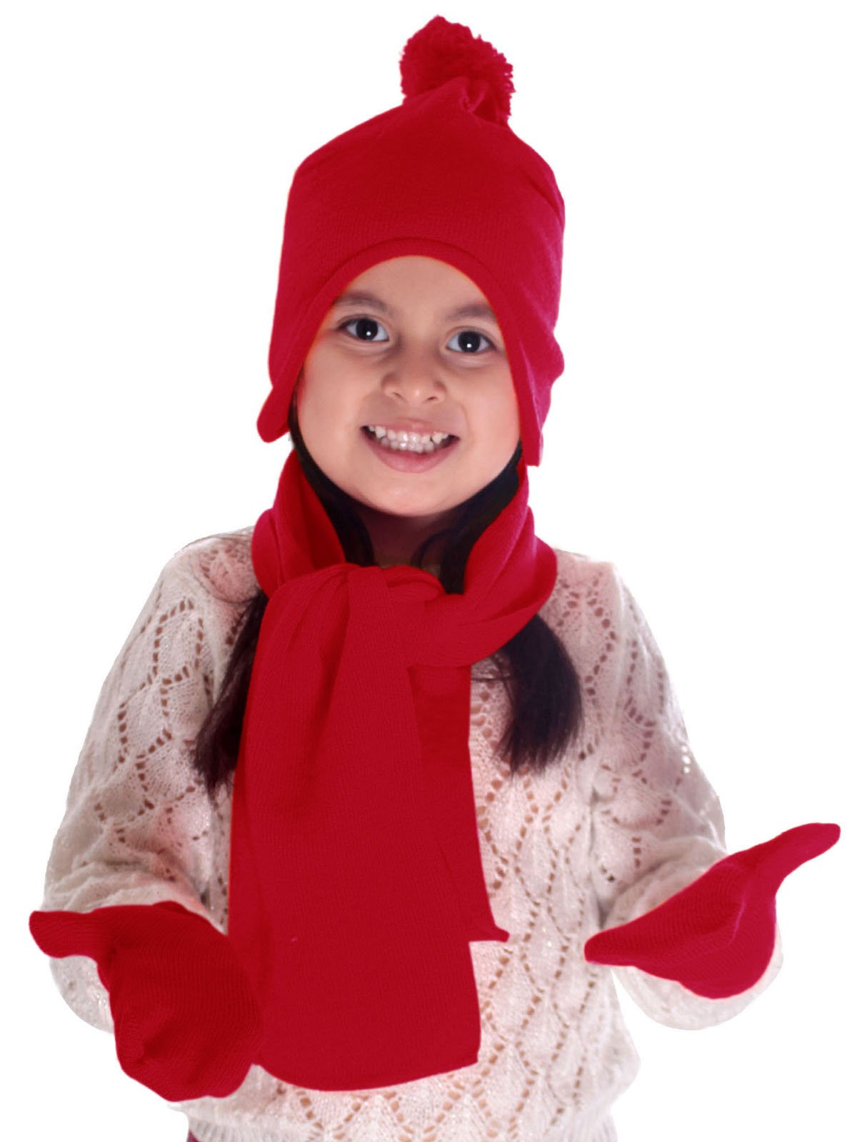 3 Pieces Winter Knit Fleece Pompom Beanie Hat, Scarf, & Glove Set, Red by YoungLove (Image #1)
