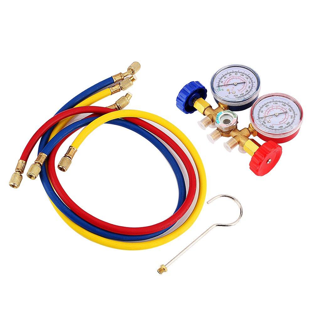 3 Farbschlauch Manometer A//C Messkollektor R12 R22 R502 Automatische Klimaanlage mit 2 Kupplungen