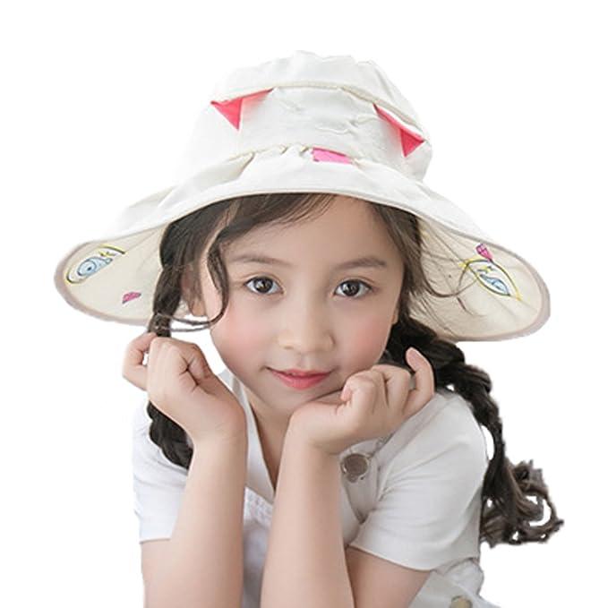 75bf9f9ec6b PT FASHIONS Girls Sun Hat 50+ SPF UV Protective Cat Pattern Wide Brim Visor  Cap