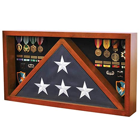 Medals of America Rectangle Combo Flag Case for 5' x 9' Veterans Burial  Flag and Medals Cherry