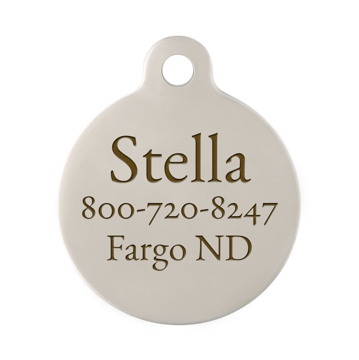 Personalized Laser Engraved Double Sided Stainless 1 1/4 Round Steel Dog ID Tag with S-Hook and Split Ring