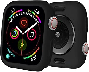 BOTOMALL for Apple Watch Case 38mm 42mm 40mm 44mm Premium Soft Flexible TPU Thin Lightweight Protective Bumper Cover Protector for iWatch SE Series 6/5/4 Series 3/2(Black,38MM Series 3/2)