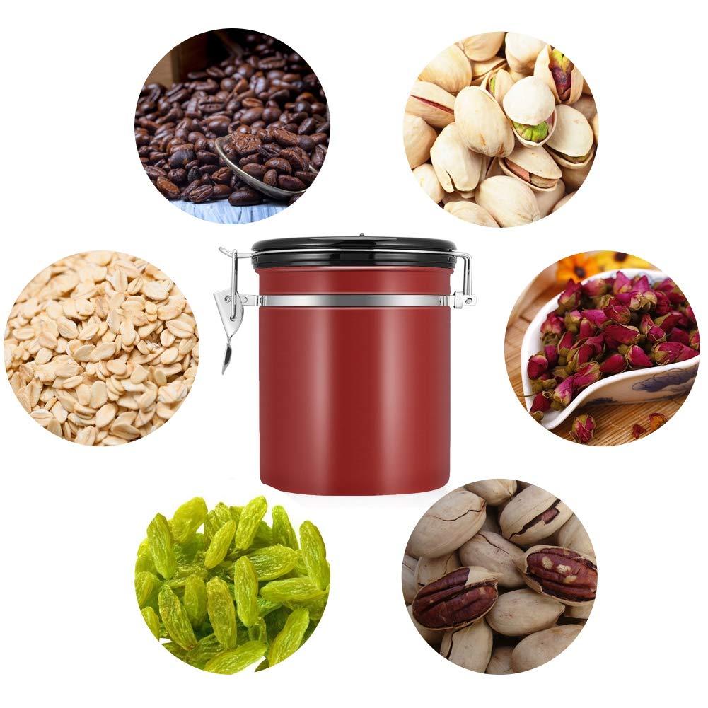 para almacenar granos de caf/é de acero inoxidable de 1,5 l t/é Bote herm/ético para caf/é frutos secos rojo vino tarros herm/éticos para caf/é