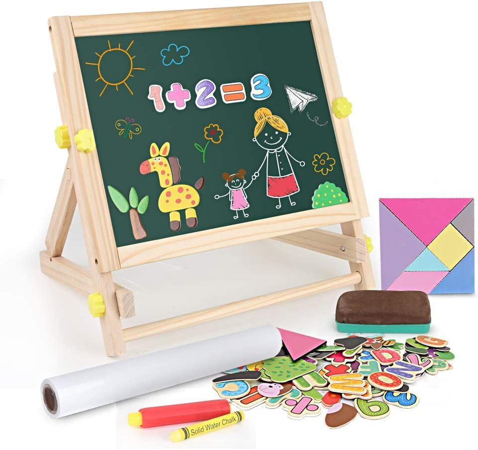BeebeeRun Kids Tabletop Easel with Paper Roll,Double-Sided Whiteboard & Chalkboard Tabletop Easel with Magnetic Letters & Numbers and Other Magnetic Puzzle Accessories for Kids and Toddlers