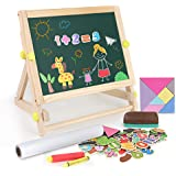 Foldable//Portable for Countertop Play Includes Paper Roll and Oversized Clip Discovery Kids 3-in-1 Tabletop Dry Erase Chalkboard Painting Art Easel 17 x 15 Inch Wood Frame Perfect for Children 3+
