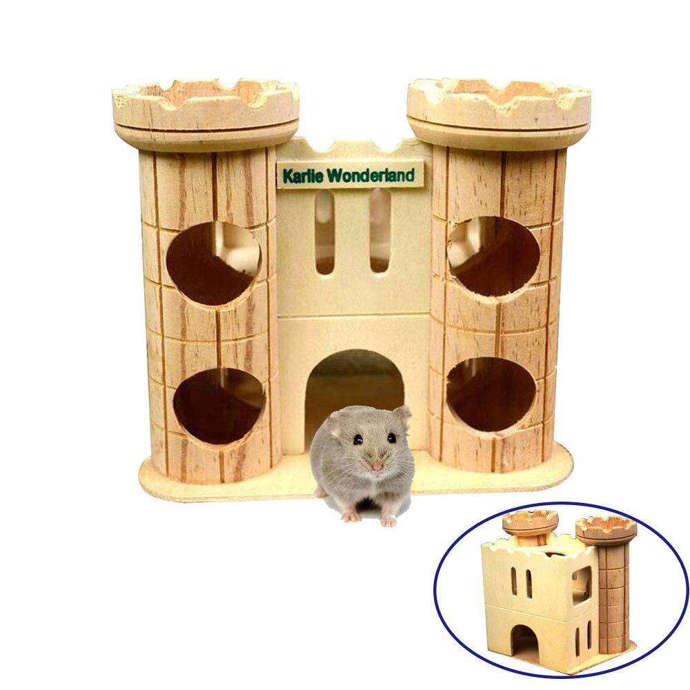 Dwarf Hamster House Wooden Tunnel Hut Mice Toys Wood Castle Small Animal Playground Toy For Syrian Hamster Guinea Pig Chinchilla Hedgehog