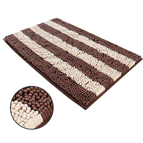 Ihoming Pet Mud Rugs Bowl Bed Mat Absorbent Microfiber Chenille Stripe Dog Cat Door Mat Paw Step Clean Rugs, Brown/Beige…