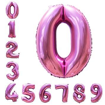 Amazon.com: Globos de helio de 40 pulgadas con números rosas ...