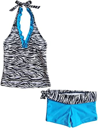 FEESHOW Kids Big Girls Two Piece Halter Tankini Swimsuit Summer Beach Bathing Suit Tank Top with Boyshorts Set