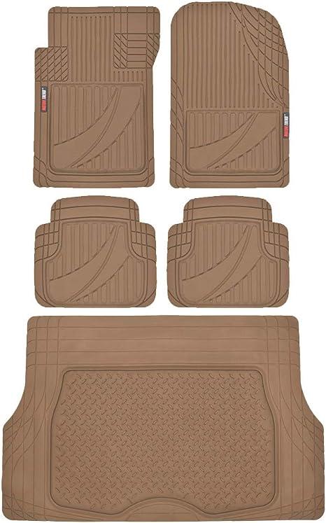 Car Floor Mat Heavy Duty Rubber Trunk Cargo Liner Beige FlexTough 4 PC Full Set