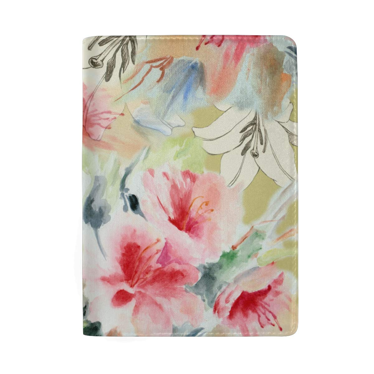 Watercolor Chinese Lily Flower And Rose Pattern Leather Passport Holder Cover Case Protector for Men Women Travel with Slots