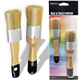 Chalk, Milk Paint and Wax Brush Set for Stencil Brushes, Home Furniture Paint - 2 Piece Paint Brush Set