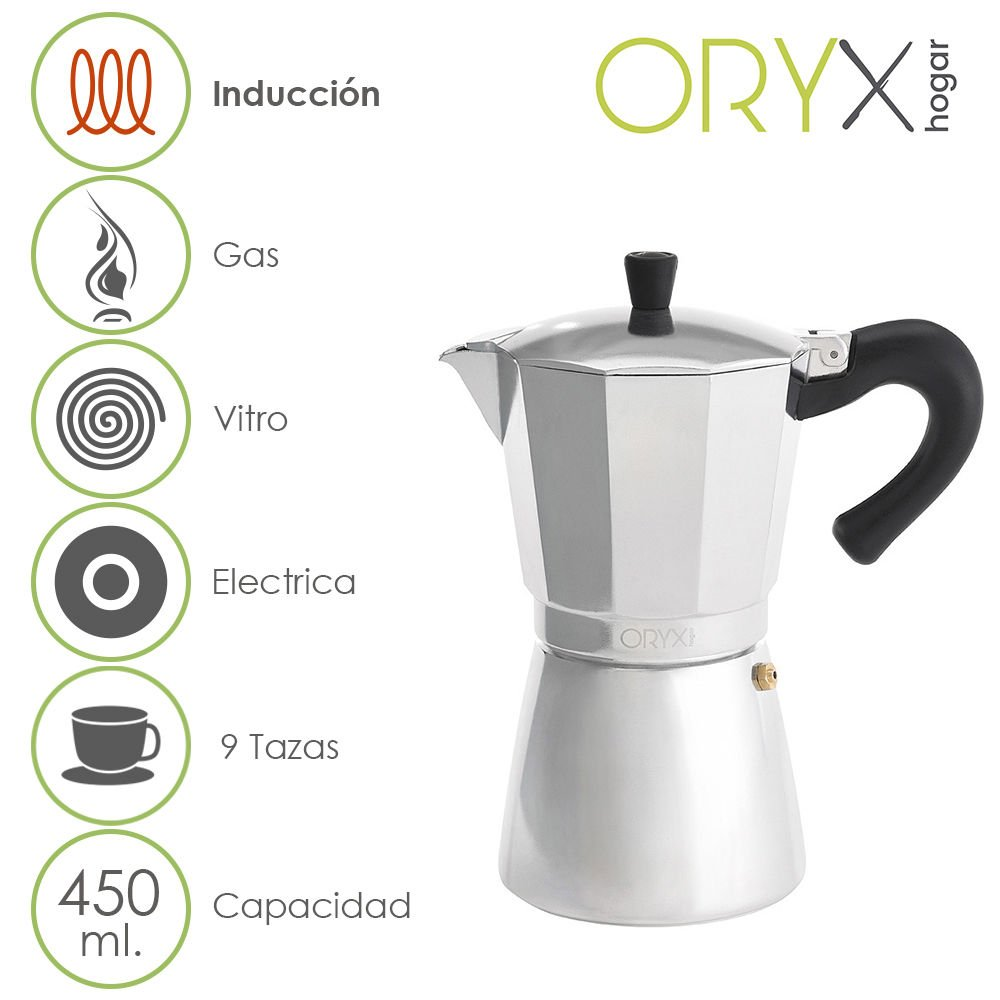 ORYX Espressokocher Induktion 9Tassen, Aluminium, silber, 18x 25x 14cm A Forged Tool 5056023
