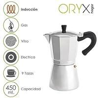 ORYX Cafetera Inducción 9 Tazas, Aluminio, Plateado, 18x25x14 cm