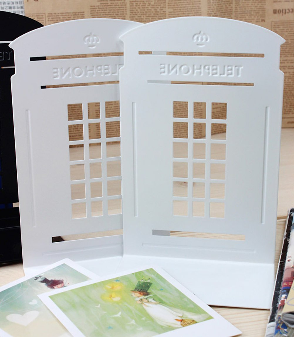 1pair Telephone Booth Non-Slip Iron Bookends, Novelty Bookend As Book Stand for Home and Office (White)