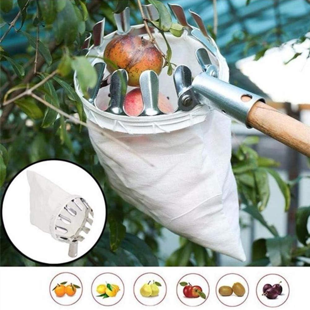 PEPAXON Obstpfl/ücker mit Beutel Obstf/änger f/ür Ernte Apfel Zitrus Birne Pfirsich Metall Obstpfl/ücker
