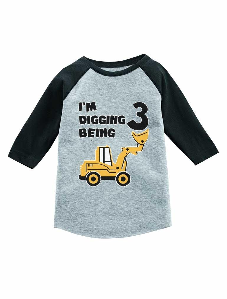 Tstars Construction Party 3rd Birthday Gift 3/4 Sleeve Baseball Jersey Toddler Shirt Dark Gray 3T by Tstars