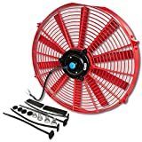 16 Inch High Performance Red Electric Radiator Cooling Fan Assembly Kit