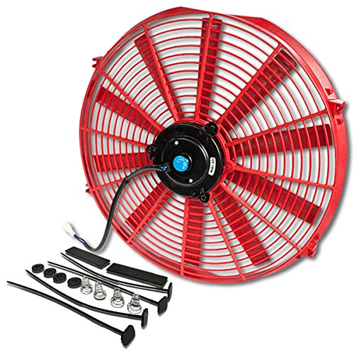 ((Pack of 1) 16 Inch High Performance 12V Electric Slim Radiator Cooling Fan w/Mounting Kit - Red)