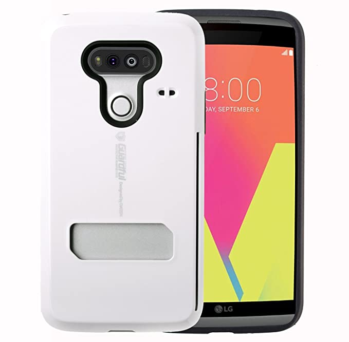 brand new fa45e 8224f Guardful [Shockproof] Credit Card Case [Dual Layer] Protective Hybrid Case  [Coin Standing] with One Card Slot Wallet for LG V20 (White)