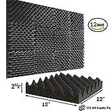 (12 Pk) 2.5''x12''x12'' Soundproofing Foam Acoustic Eggcrate Tiles Studio Foam Sound Wedges