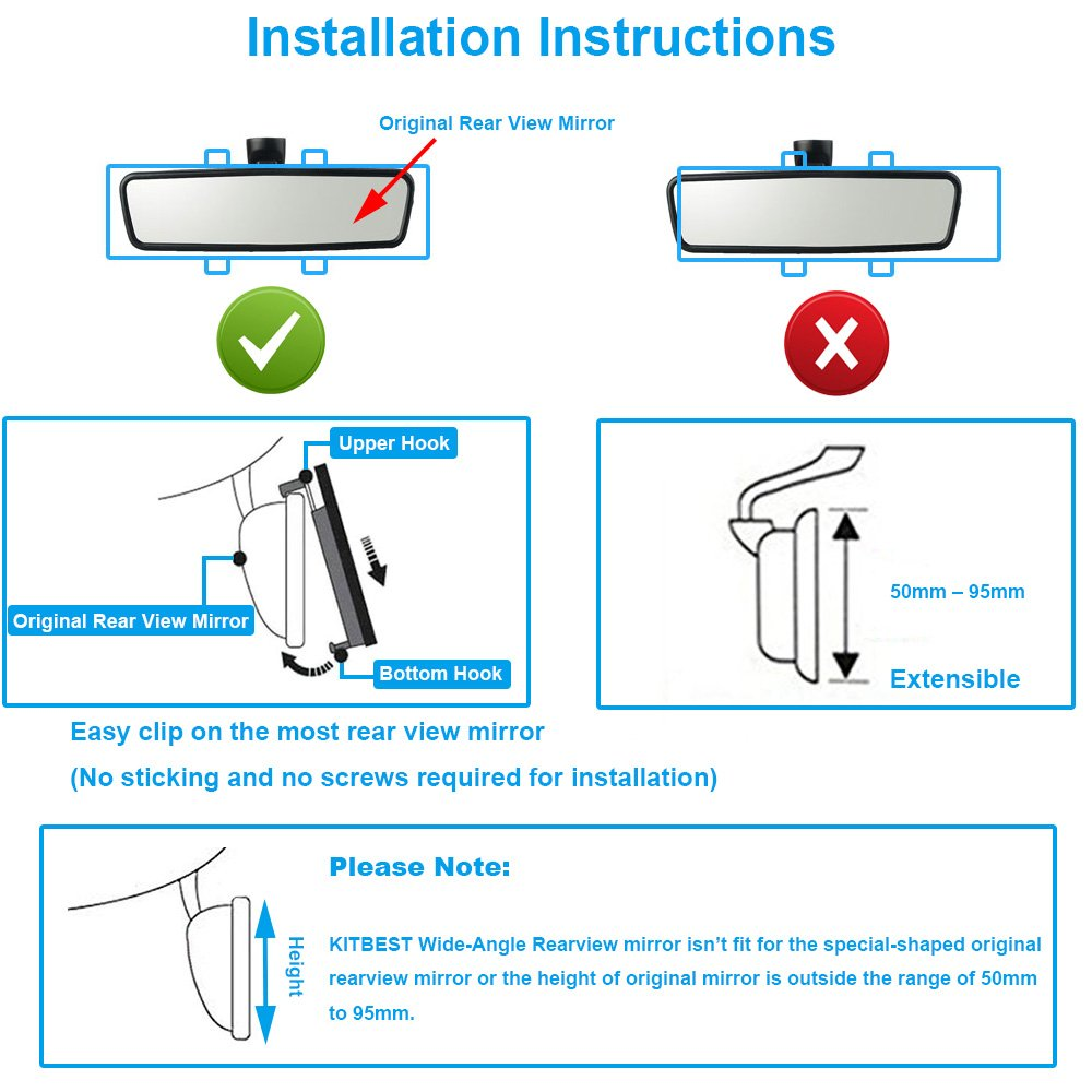 Xislet Combo Package Universal Car Rearview Mirrors Interior Clips Wiring Diagram Auto Rear Mirror Ford F150 2 Blind Spots For Most Truck