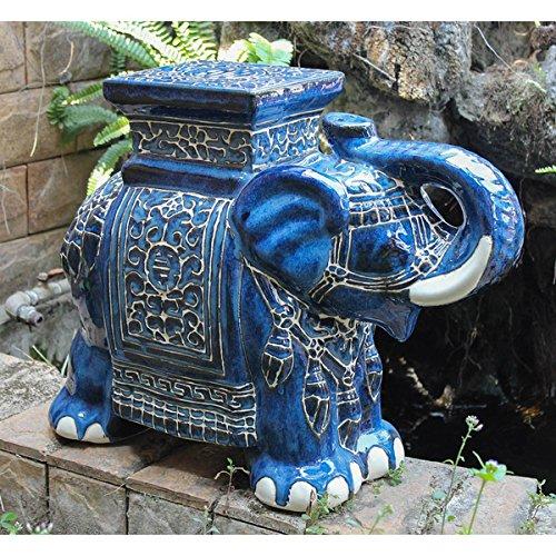 Large Porcelain Elephant Stool (Solid Blue Wash)