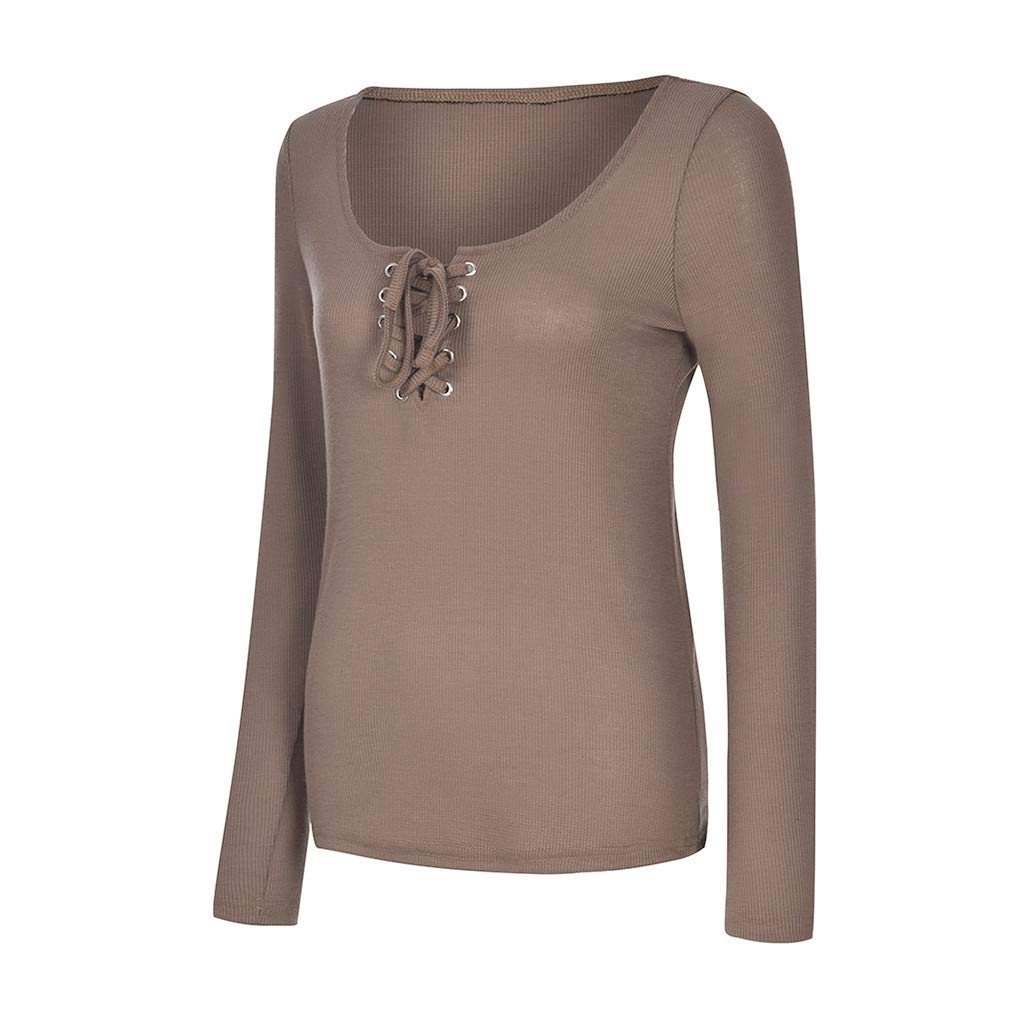 EDC Square Neck Tops for Women Bandage Long Sleeve Pullover Tops Blouse Shirts T Shirt