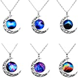 "MJARTORIA ""Love Across Light Years"" Filigree Crescent Moon Nebulae Cabochon Friendship Necklace Set of 6"