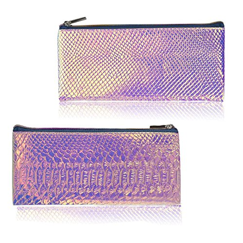 SODIAL Cosmetic Bag Makeup Bag Toiletry Travel Bag Handy Holographic Bag Protable Wash Pouch Waterproof Zipper Handbag Carry Case Organizer