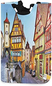 DAOPUDA Laundry Bag Rothenburg Ob Der Tauber Bavaria Germany Famous Street with Colorful Classic Houses Large Laundry Hamper Bags for Heavy-Duty Use with Strap,Standing Clothes Basket