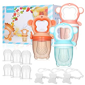 Baby Food Feeder AVHzY Silicone Fresh Fruit Pacifier (3 Pack) Infant Teething Toy Teether, 3 Sizes Soft Safe Nipple for Babies Toddlers Kids