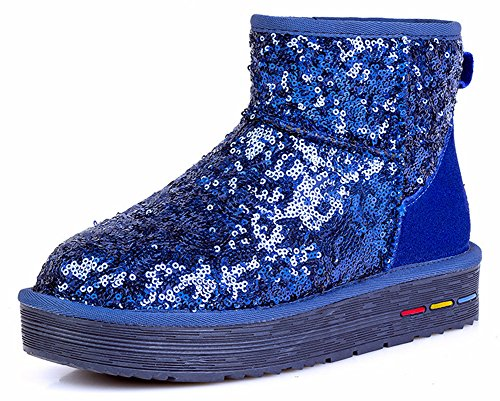 Aisun Womens Mode Varma Paljetter Platt Ankel Snö Stövlar Blå