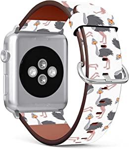 (Funny Cartoon Ostrich) Patterned Leather Wristband Strap Compatible with Apple Watch Series 5/4/3/2/1 gen,Replacement for iWatch 38mm / 40mm Bands